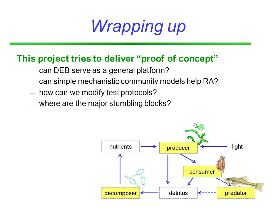 Wrapping up This project tries to deliver proof of concept –can DEB serve as a general platform.