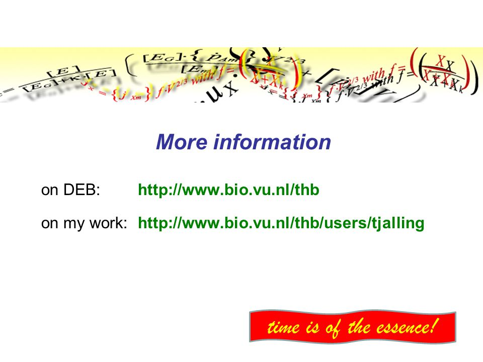 More information on DEB: http://www.bio.vu.nl/thb on my work: http://www.bio.vu.nl/thb/users/tjalling time is of the essence!