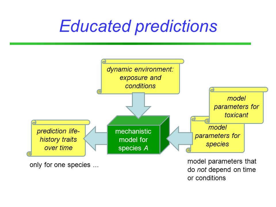 prediction life- history traits over time model parameters for species model parameters for toxicant Educated predictions mechanistic model for species A dynamic environment: exposure and conditions only for one species...