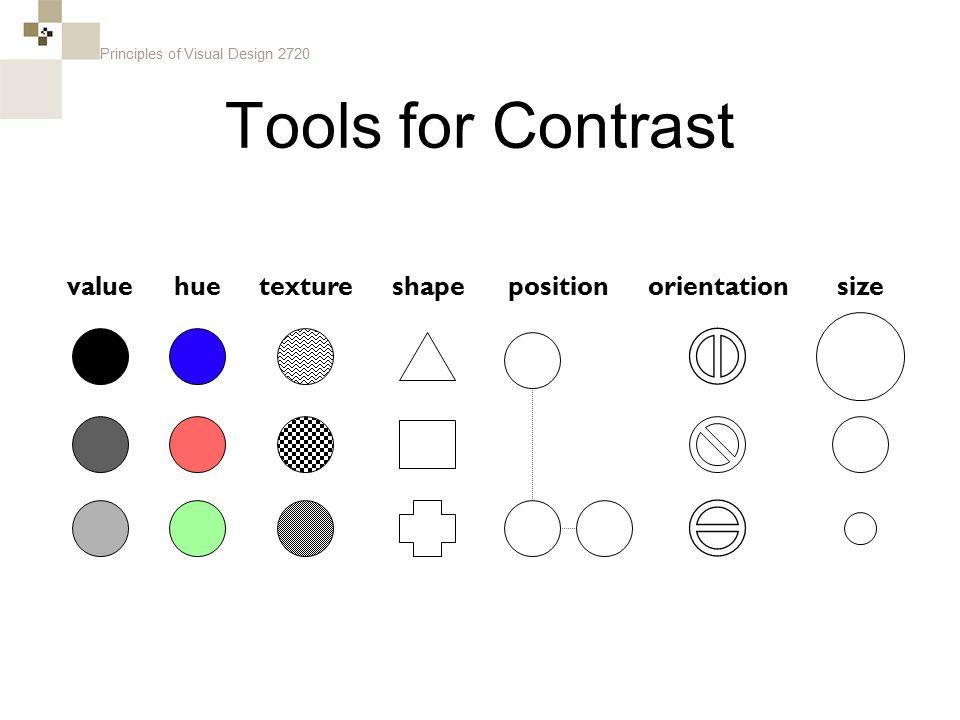 Principles of Visual Design 2720 Tools for Contrast sizevaluehueorientationtextureshapeposition