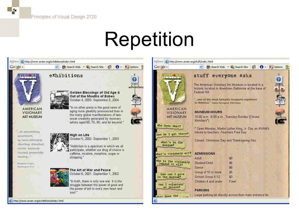 Principles of Visual Design 2720 Repetition