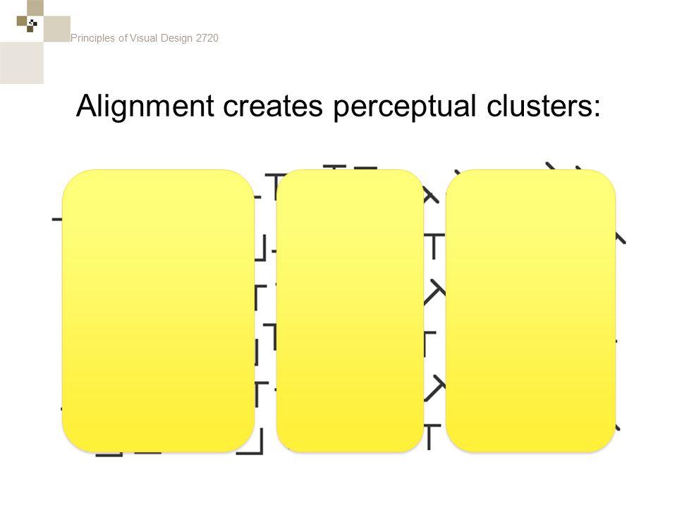 Principles of Visual Design 2720 Alignment creates perceptual clusters: