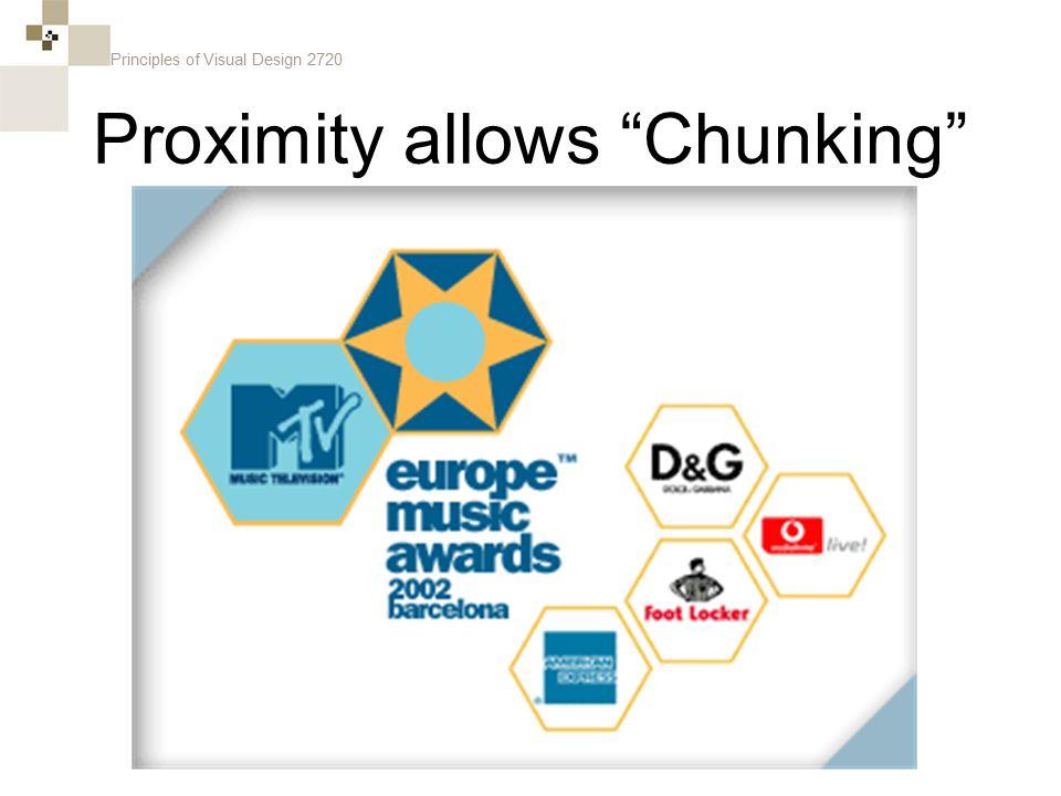 Principles of Visual Design 2720 Proximity allows Chunking