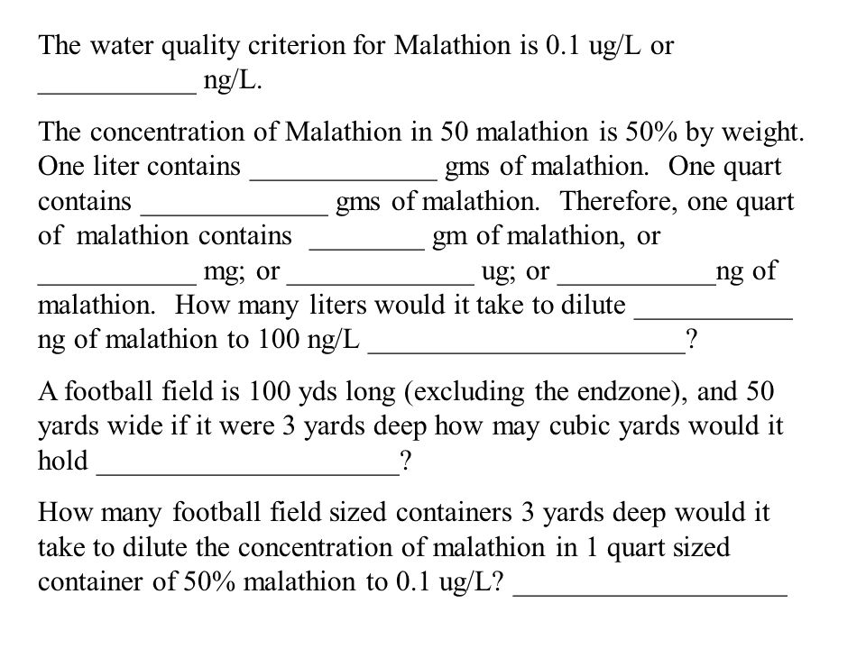 The water quality criterion for Malathion is 0.1 ug/L or ___________ ng/L.