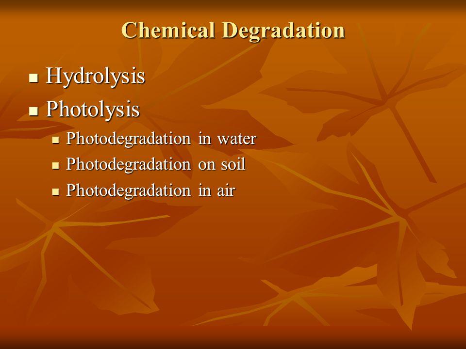 Chemical Degradation Hydrolysis Hydrolysis Photolysis Photolysis Photodegradation in water Photodegradation in water Photodegradation on soil Photodeg