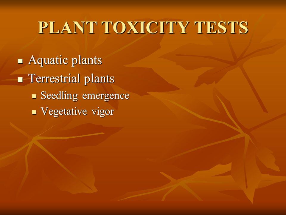 PLANT TOXICITY TESTS Aquatic plants Aquatic plants Terrestrial plants Terrestrial plants Seedling emergence Seedling emergence Vegetative vigor Vegeta