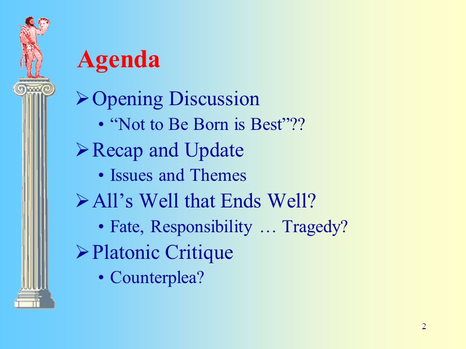 2 Agenda  Opening Discussion Not to Be Born is Best .