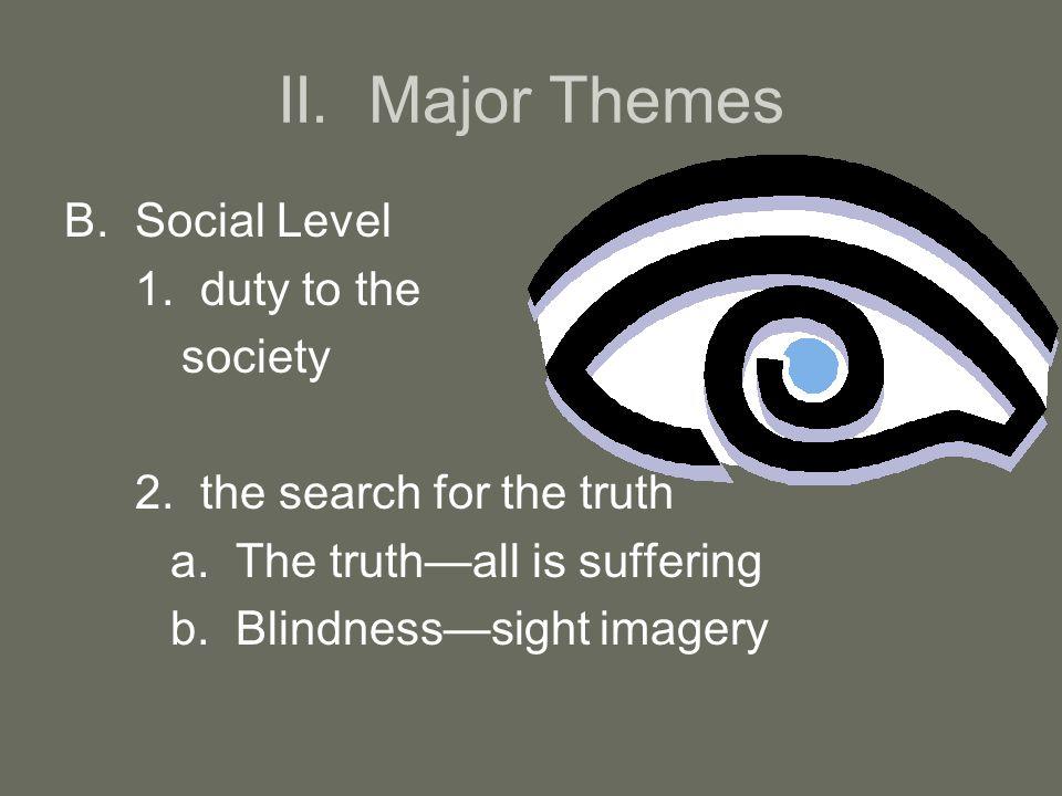 II. Major Themes B.Social Level 1. duty to the society 2.