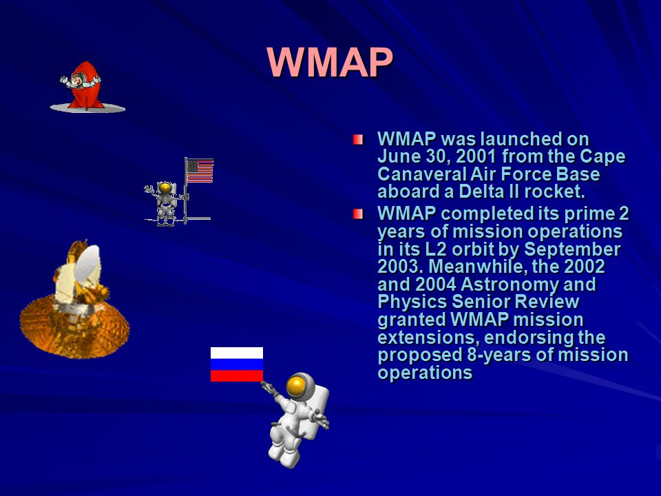 WMAP WMAP was launched on June 30, 2001 from the Cape Canaveral Air Force Base aboard a Delta II rocket.