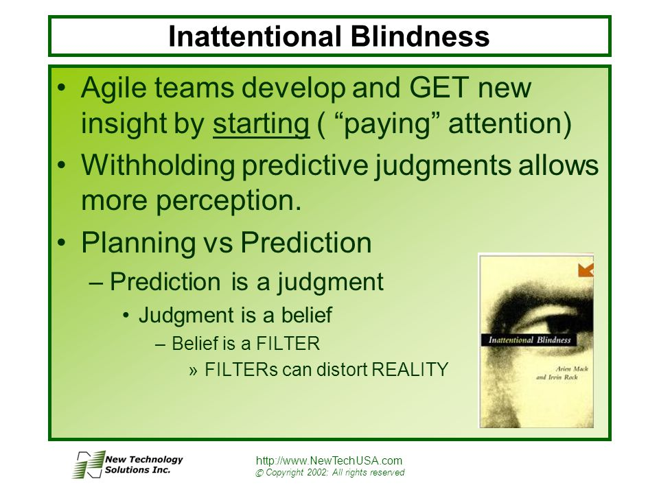 http://www.NewTechUSA.com © Copyright 2002: All rights reserved Inattentional Blindness Agile teams develop and GET new insight by starting ( paying attention) Withholding predictive judgments allows more perception.