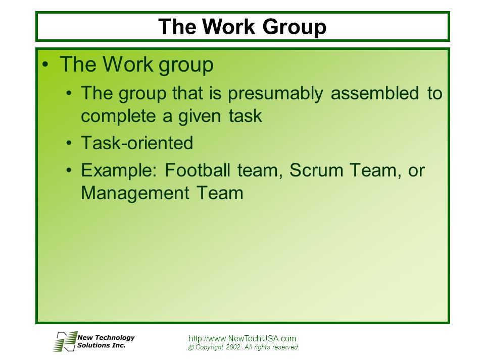 http://www.NewTechUSA.com © Copyright 2002: All rights reserved The Work Group The Work group The group that is presumably assembled to complete a given task Task-oriented Example: Football team, Scrum Team, or Management Team