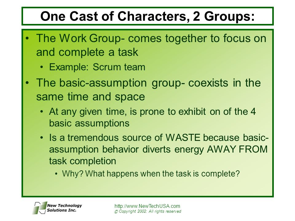 http://www.NewTechUSA.com © Copyright 2002: All rights reserved One Cast of Characters, 2 Groups: The Work Group- comes together to focus on and complete a task Example: Scrum team The basic-assumption group- coexists in the same time and space At any given time, is prone to exhibit on of the 4 basic assumptions Is a tremendous source of WASTE because basic- assumption behavior diverts energy AWAY FROM task completion Why.