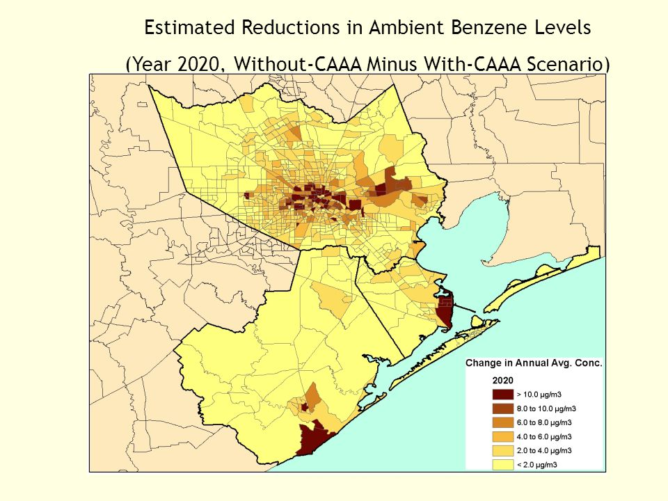 Estimated Reductions in Ambient Benzene Levels (Year 2020, Without-CAAA Minus With-CAAA Scenario)