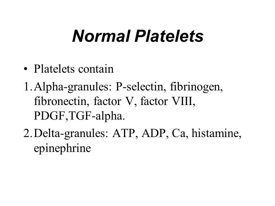 Normal Platelets Platelets contain 1.Alpha-granules: P-selectin, fibrinogen, fibronectin, factor V, factor VIII, PDGF,TGF-alpha. 2.Delta-granules: ATP
