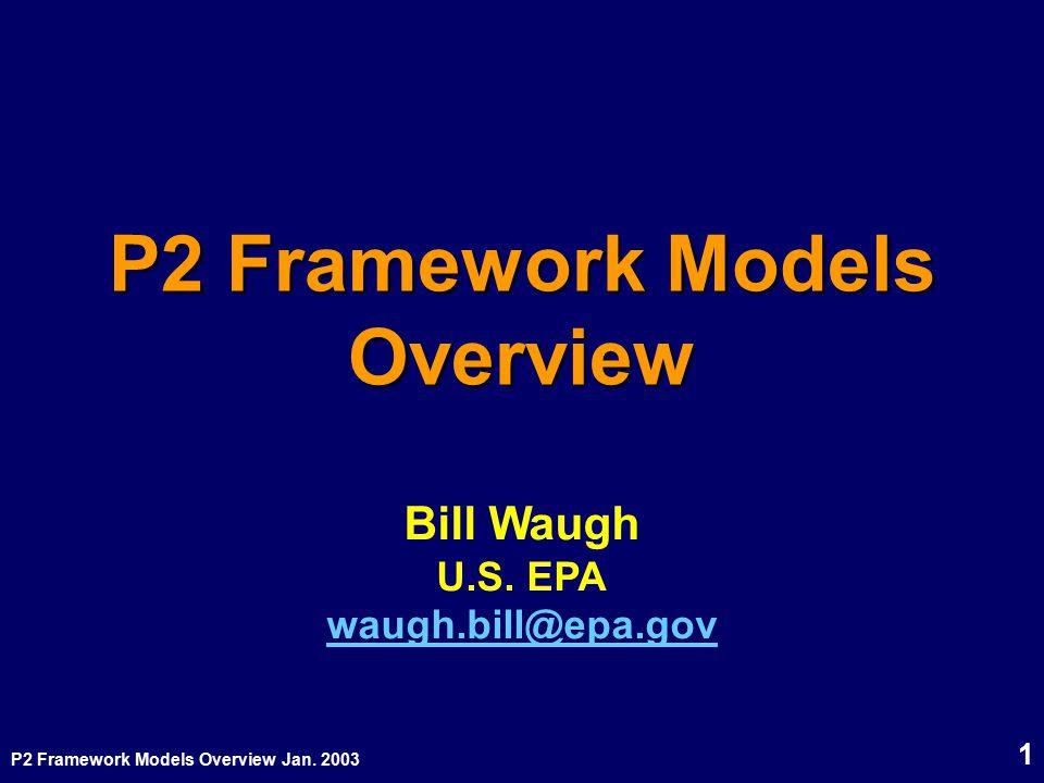 P2 Framework Models Overview Jan. 2003 1 P2 Framework Models Overview Bill Waugh U.S. EPA waugh.bill@epa.gov