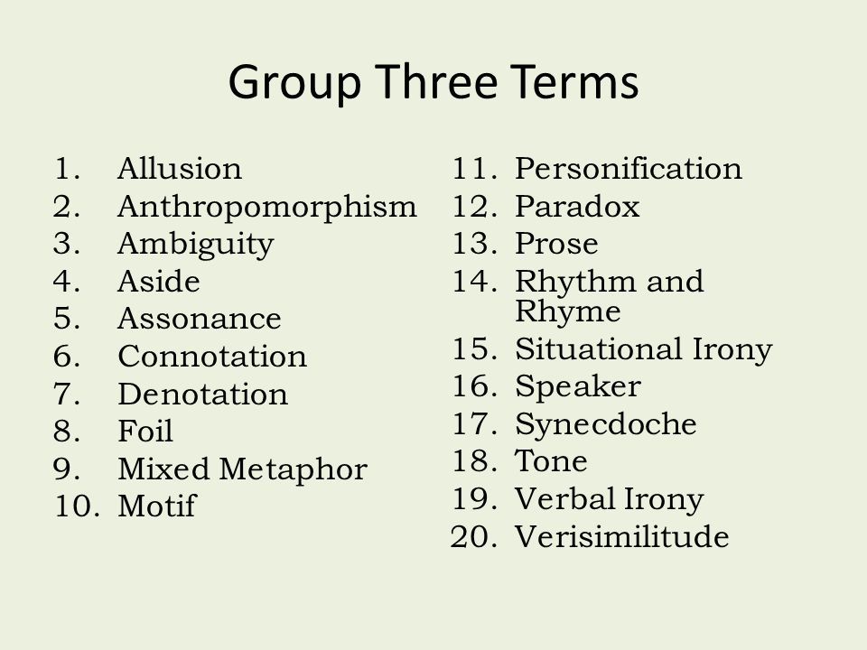 Group Three Terms 1.Allusion 2.Anthropomorphism 3.Ambiguity 4.Aside 5.Assonance 6.Connotation 7.Denotation 8.Foil 9.Mixed Metaphor 10.Motif 11.Personification 12.Paradox 13.Prose 14.Rhythm and Rhyme 15.Situational Irony 16.Speaker 17.Synecdoche 18.Tone 19.Verbal Irony 20.Verisimilitude