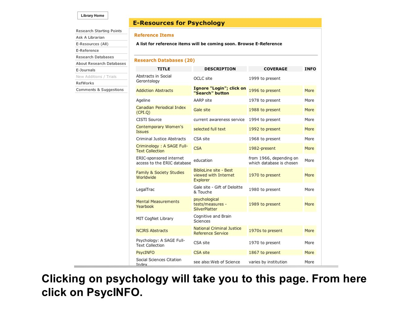 Clicking on psychology will take you to this page. From here click on PsycINFO.
