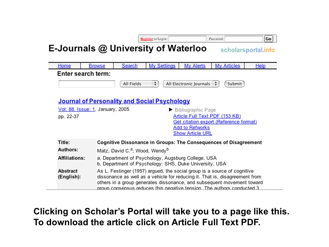 Clicking on Scholar's Portal will take you to a page like this. To download the article click on Article Full Text PDF.