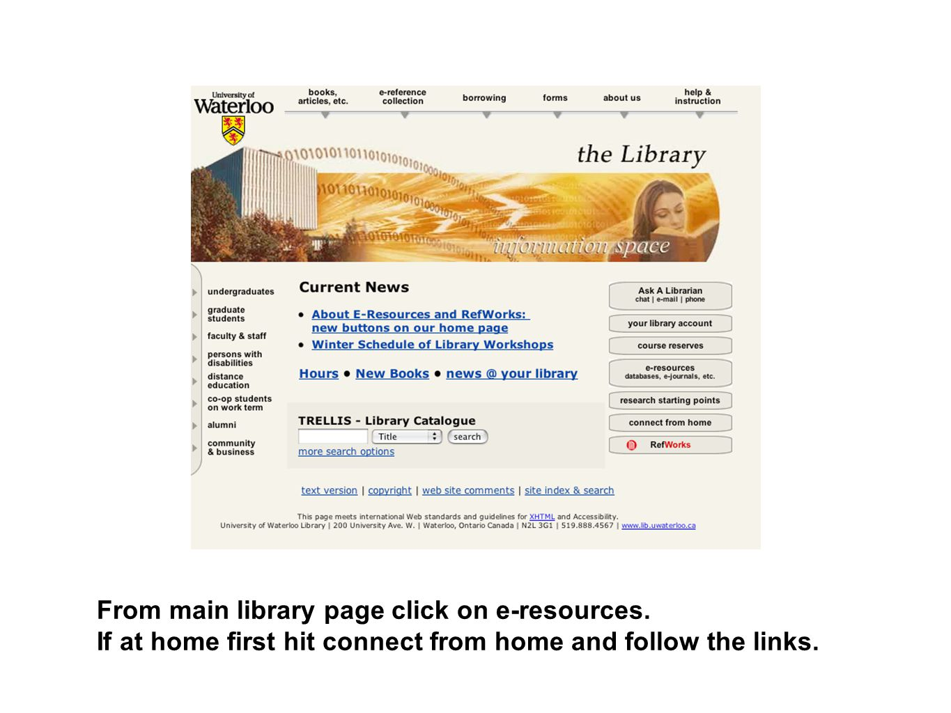 From main library page click on e-resources. If at home first hit connect from home and follow the links.