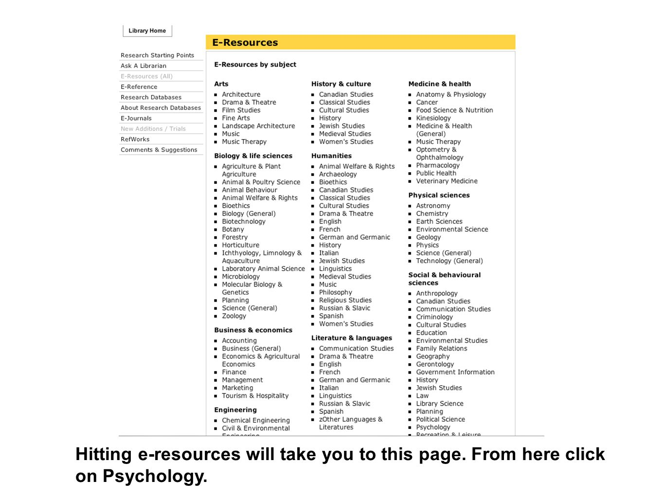 Hitting e-resources will take you to this page. From here click on Psychology.