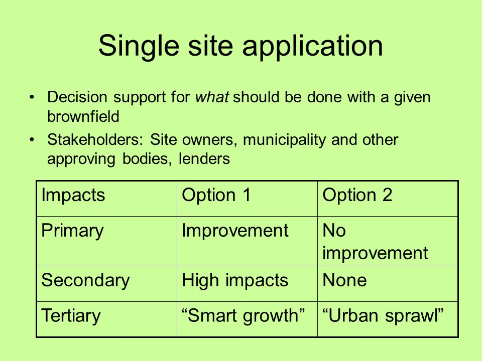 Single site application Decision support for what should be done with a given brownfield Stakeholders: Site owners, municipality and other approving bodies, lenders Urban sprawl Smart growth Tertiary NoneHigh impactsSecondary No improvement ImprovementPrimary Option 2Option 1Impacts