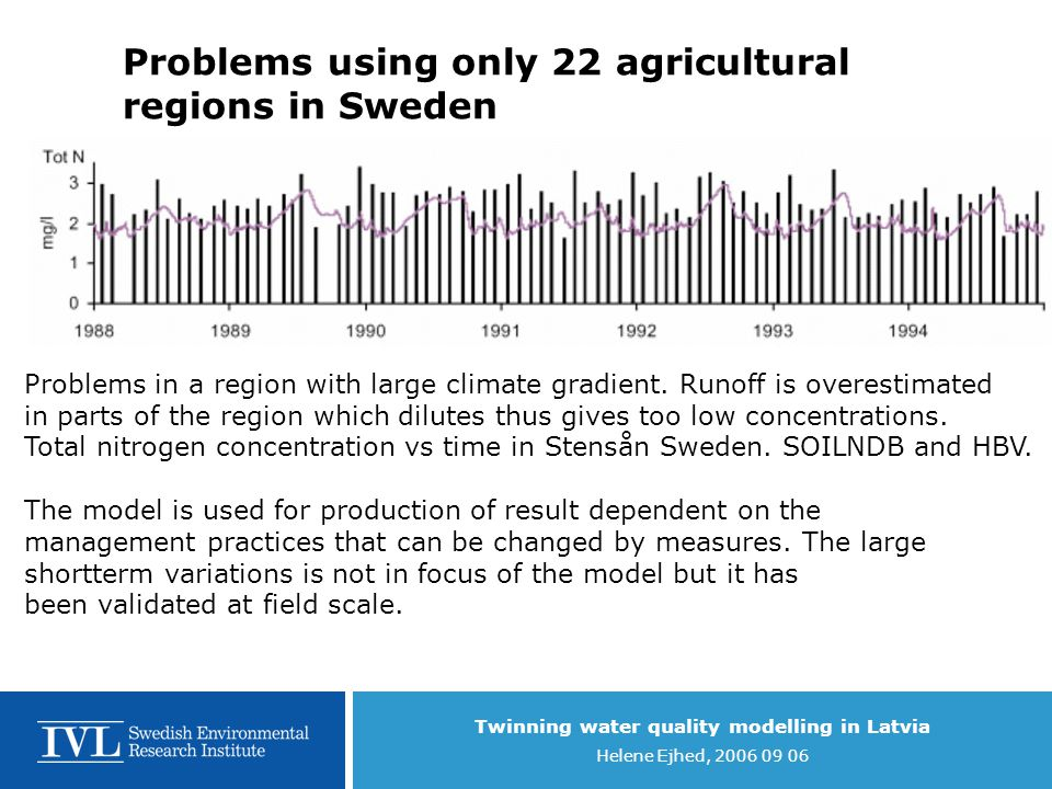Twinning water quality modelling in Latvia Helene Ejhed, 2006 09 06 Toxic pressure Biota Transport Processes and the use of Models Occurrence and distribution of chemicals in different media