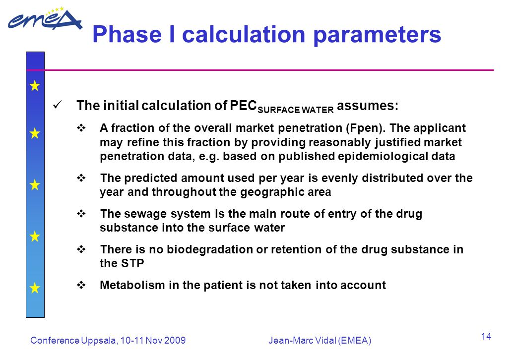 Conference Uppsala, 10-11 Nov 2009Jean-Marc Vidal (EMEA) 14 Phase I calculation parameters The initial calculation of PEC SURFACE WATER assumes:  A fraction of the overall market penetration (Fpen).