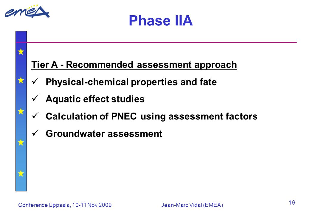 Conference Uppsala, 10-11 Nov 2009Jean-Marc Vidal (EMEA) 16 Phase IIA Tier A - Recommended assessment approach Physical-chemical properties and fate Aquatic effect studies Calculation of PNEC using assessment factors Groundwater assessment