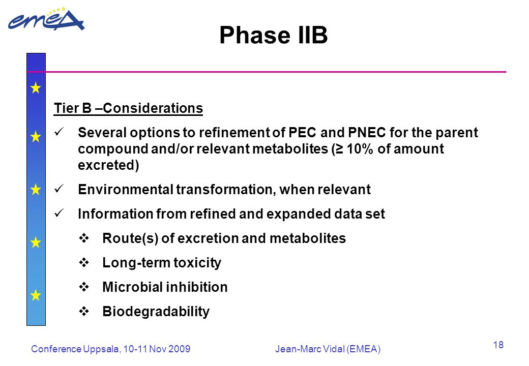 Conference Uppsala, 10-11 Nov 2009Jean-Marc Vidal (EMEA) 18 Phase IIB Tier B –Considerations Several options to refinement of PEC and PNEC for the parent compound and/or relevant metabolites (≥ 10% of amount excreted) Environmental transformation, when relevant Information from refined and expanded data set  Route(s) of excretion and metabolites  Long-term toxicity  Microbial inhibition  Biodegradability