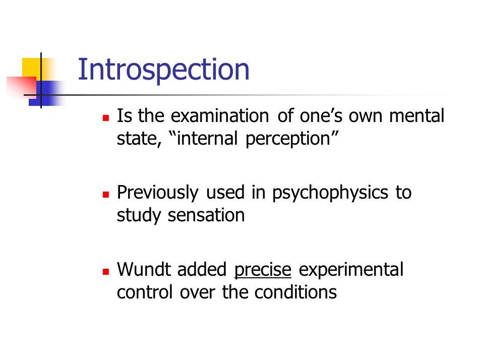 """Is the examination of one's own mental state, """"internal perception"""" Previously used in psychophysics to study sensation Wundt added precise experiment"""