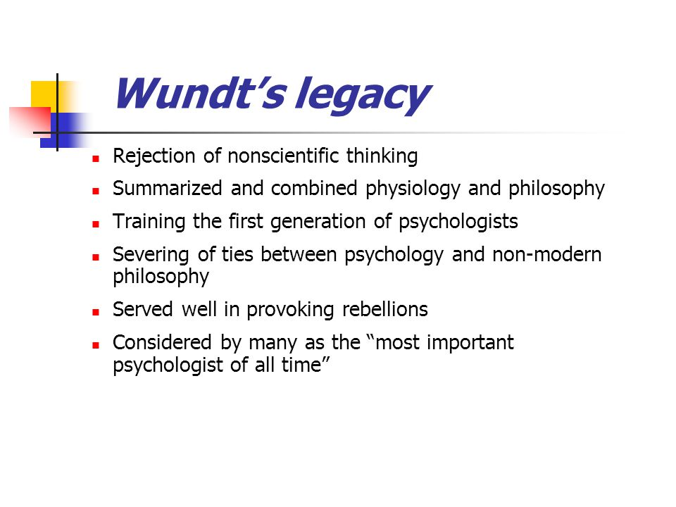 Wundt's legacy Rejection of nonscientific thinking Summarized and combined physiology and philosophy Training the first generation of psychologists Se