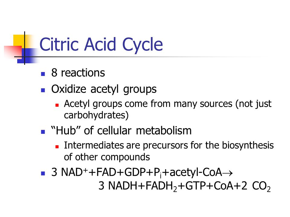 Citric Acid Cycle 8 reactions Oxidize acetyl groups Acetyl groups come from many sources (not just carbohydrates) Hub of cellular metabolism Intermediates are precursors for the biosynthesis of other compounds 3 NAD + +FAD+GDP+P i +acetyl-CoA  3 NADH+FADH 2 +GTP+CoA+2 CO 2
