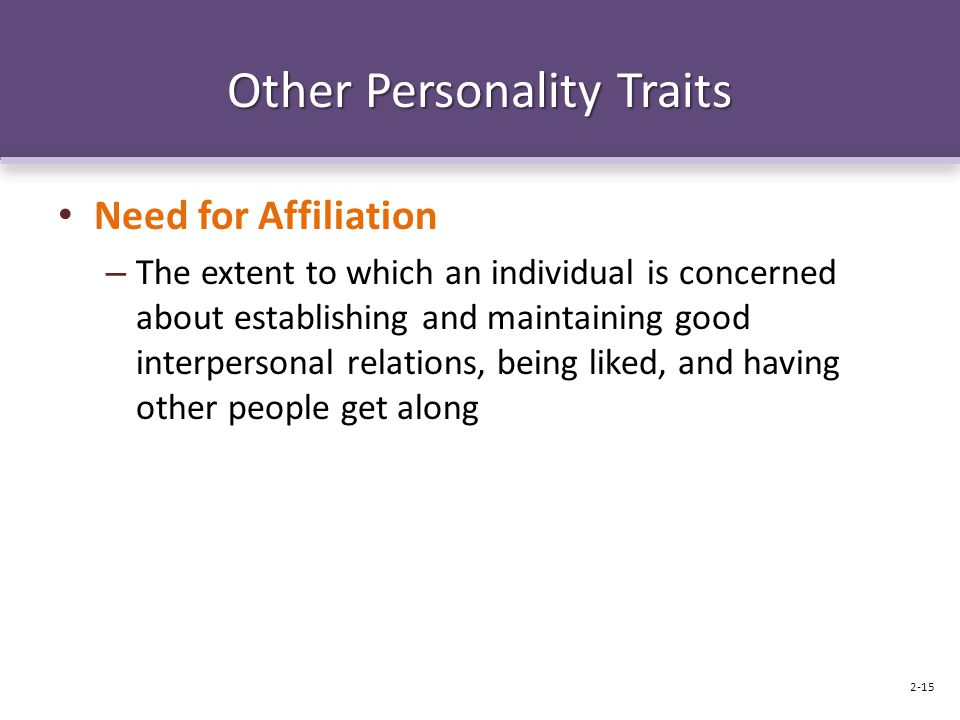 Other Personality Traits Need for Affiliation – The extent to which an individual is concerned about establishing and maintaining good interpersonal relations, being liked, and having other people get along 2-15