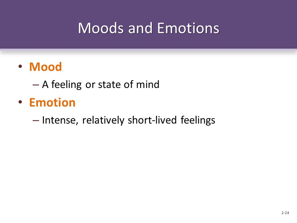 Moods and Emotions Mood – A feeling or state of mind Emotion – Intense, relatively short-lived feelings 2-24
