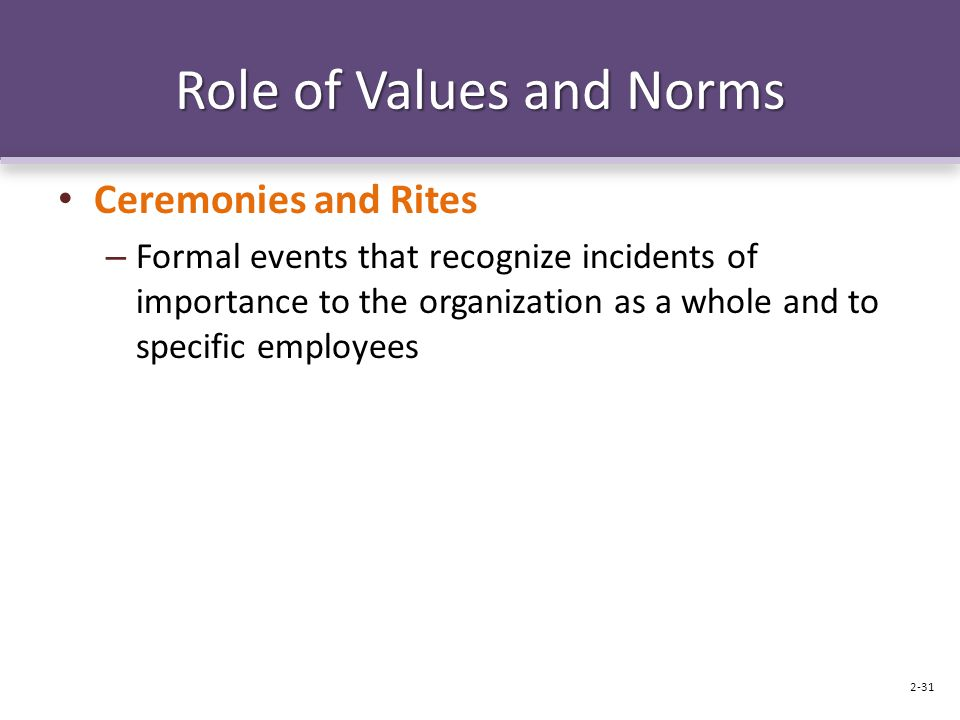 Role of Values and Norms Ceremonies and Rites – Formal events that recognize incidents of importance to the organization as a whole and to specific employees 2-31