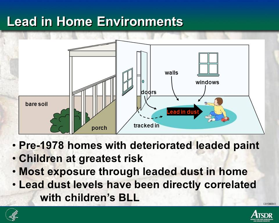 CS109909-3 Lead in Home Environments bare soil porch windows doors walls tracked in Lead in dust Pre-1978 homes with deteriorated leaded paint Childre