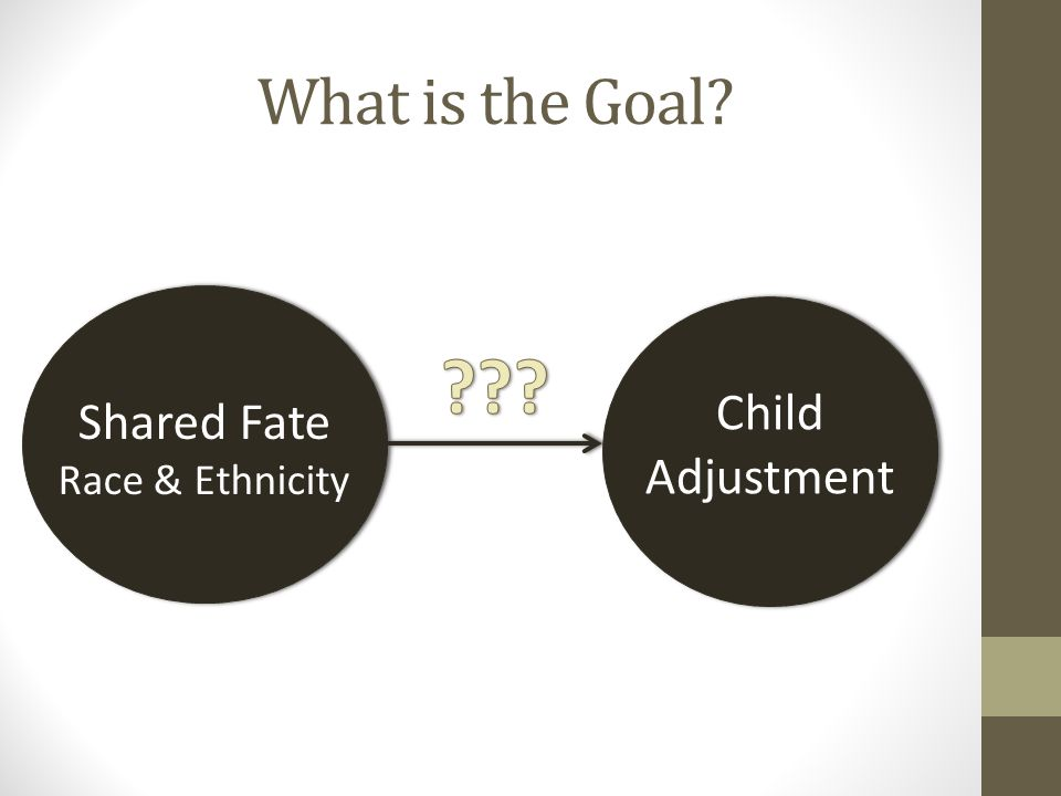 What is the Goal? Shared Fate Race & Ethnicity Child Adjustment