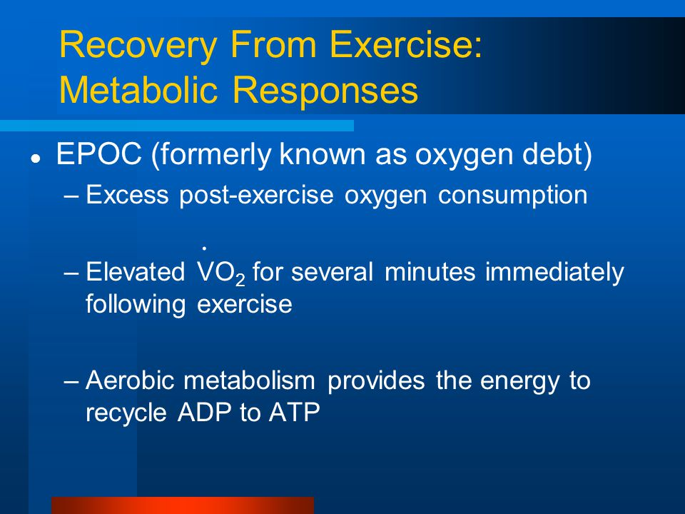 Recovery From Exercise: Metabolic Responses EPOC (formerly known as oxygen debt) –Excess post-exercise oxygen consumption –Elevated VO 2 for several m