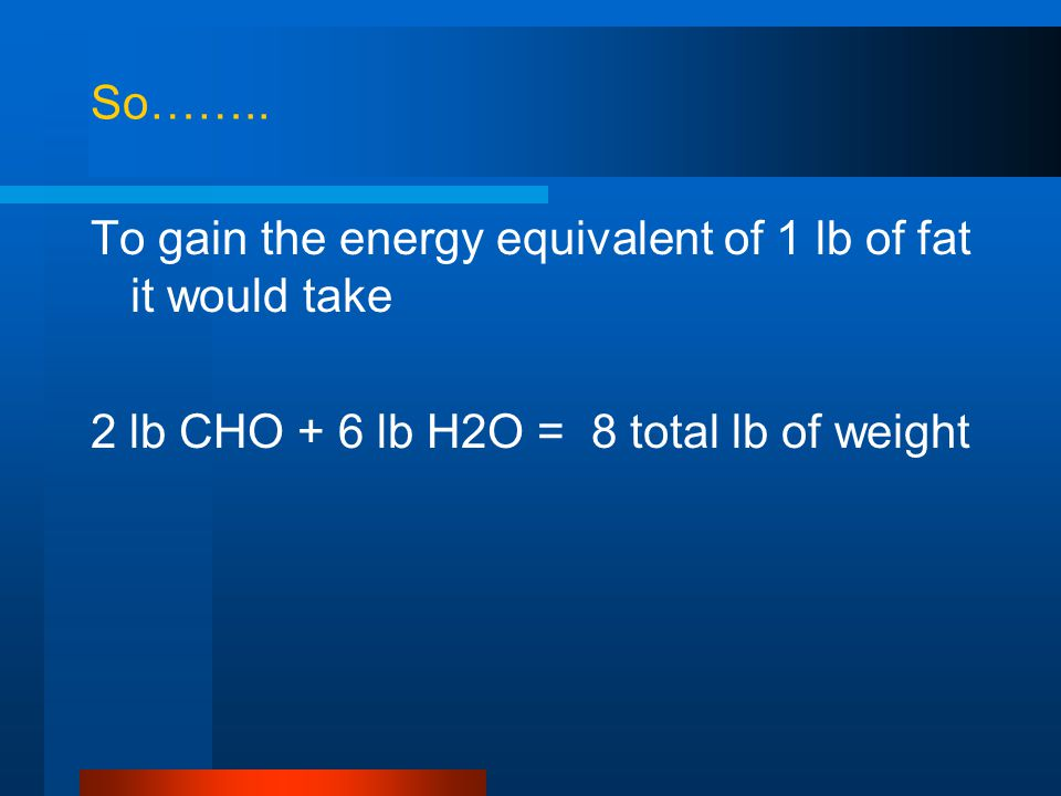 So…….. To gain the energy equivalent of 1 lb of fat it would take 2 lb CHO + 6 lb H2O = 8 total lb of weight
