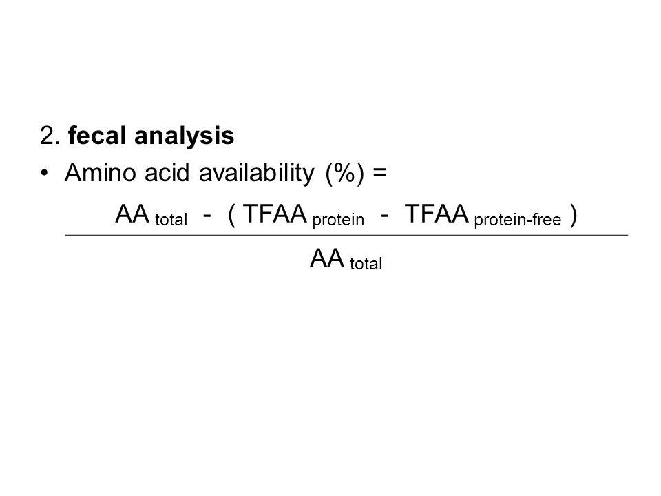 2. fecal analysis Amino acid availability (%) = AA total - ( TFAA protein - TFAA protein-free ) AA total