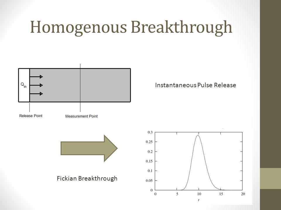 Homogenous Breakthrough Instantaneous Pulse Release Fickian Breakthrough