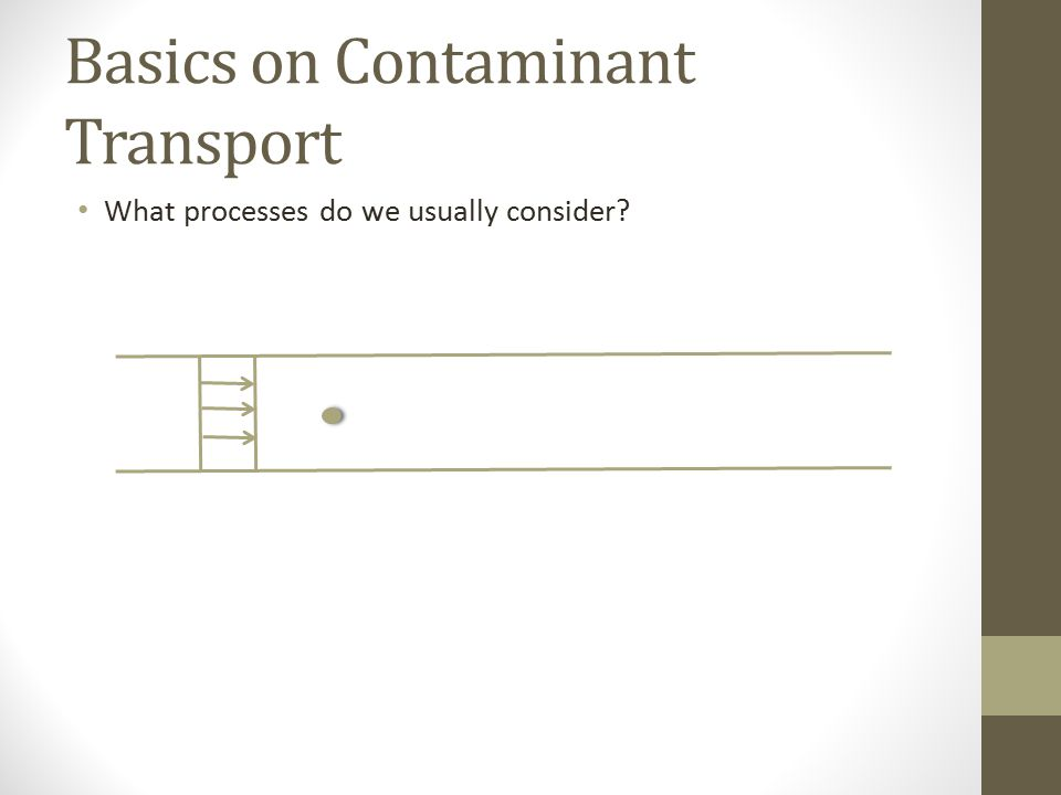 Basics on Contaminant Transport What processes do we usually consider