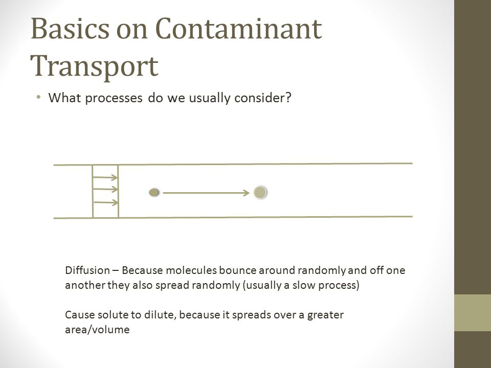 Basics on Contaminant Transport What processes do we usually consider.