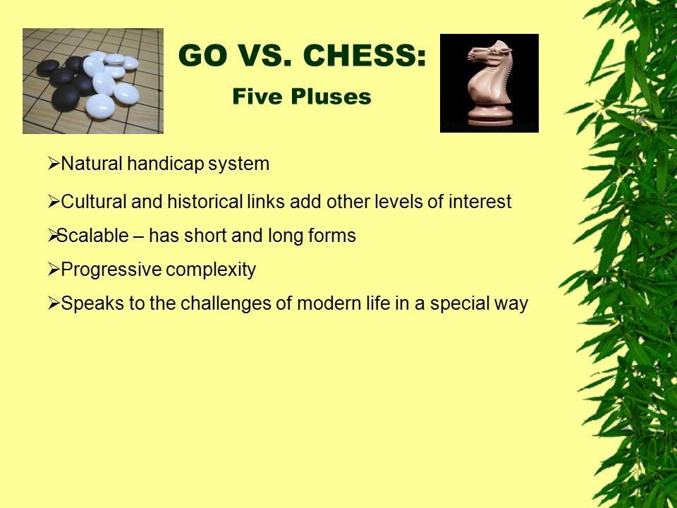 GO VS. CHESS: Five Pluses  Natural handicap system  Cultural and historical links add other levels of interest  Scalable – has short and long forms
