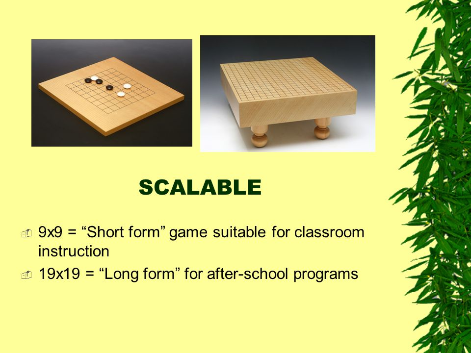 """SCALABLE  9x9 = """"Short form"""" game suitable for classroom instruction  19x19 = """"Long form"""" for after-school programs"""