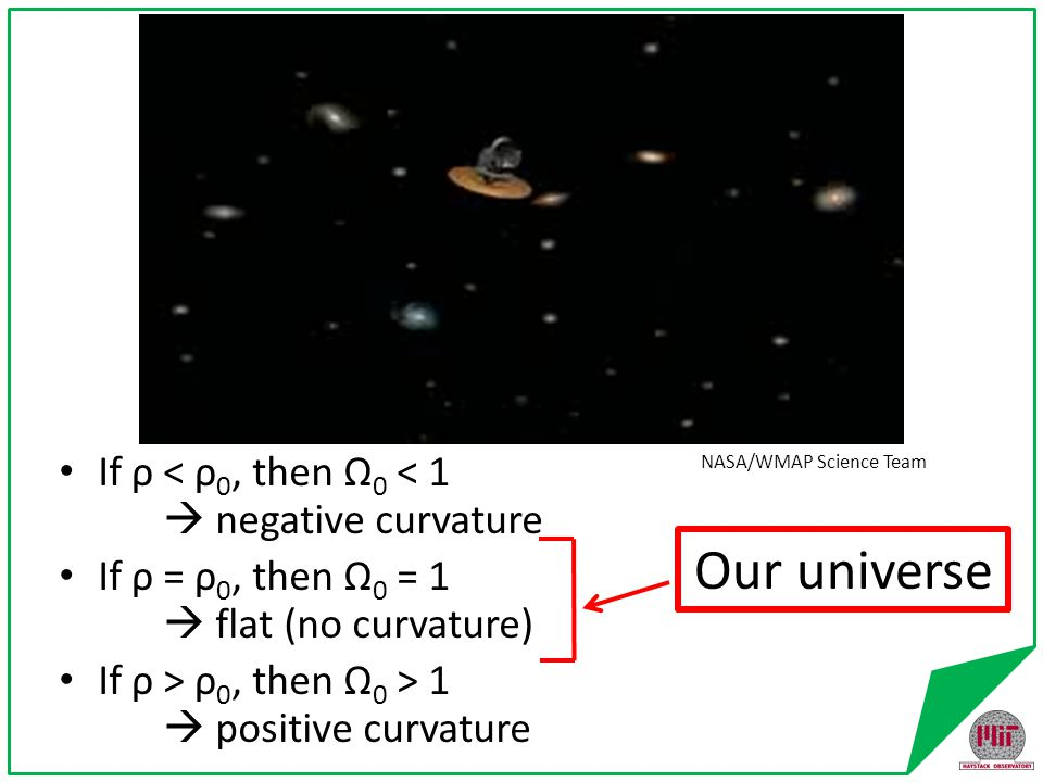 Curvature of the Universe On VERY large scales Could be: – Positive (>180 ° ) [closed universe] – Negative (<180 ° ) [open universe] – Flat (=180 ° ) [critical universe]