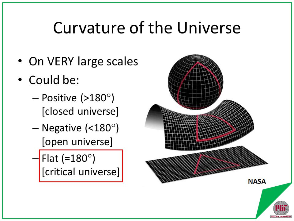 Possible fates of the universe Closed – expansion then collapse, (rinse,) repeat.