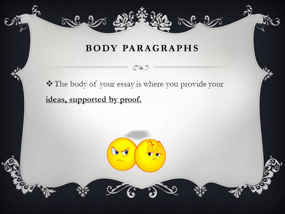 BODY PARAGRAPHS  The body of your essay is where you provide your ideas, supported by proof.