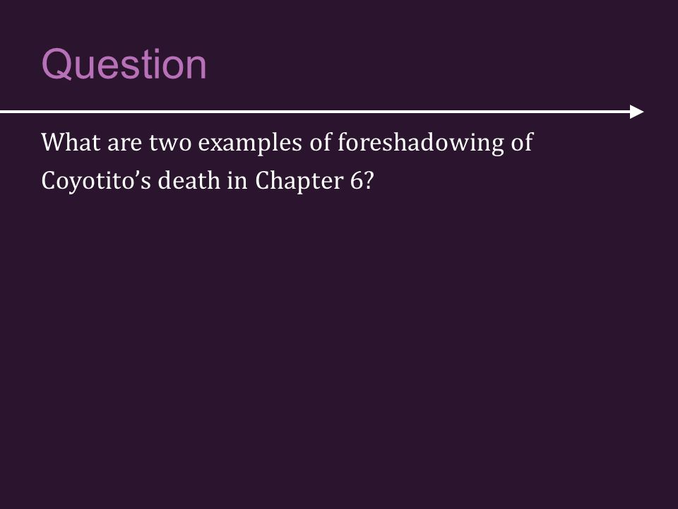 Question What are two examples of foreshadowing of Coyotito's death in Chapter 6?