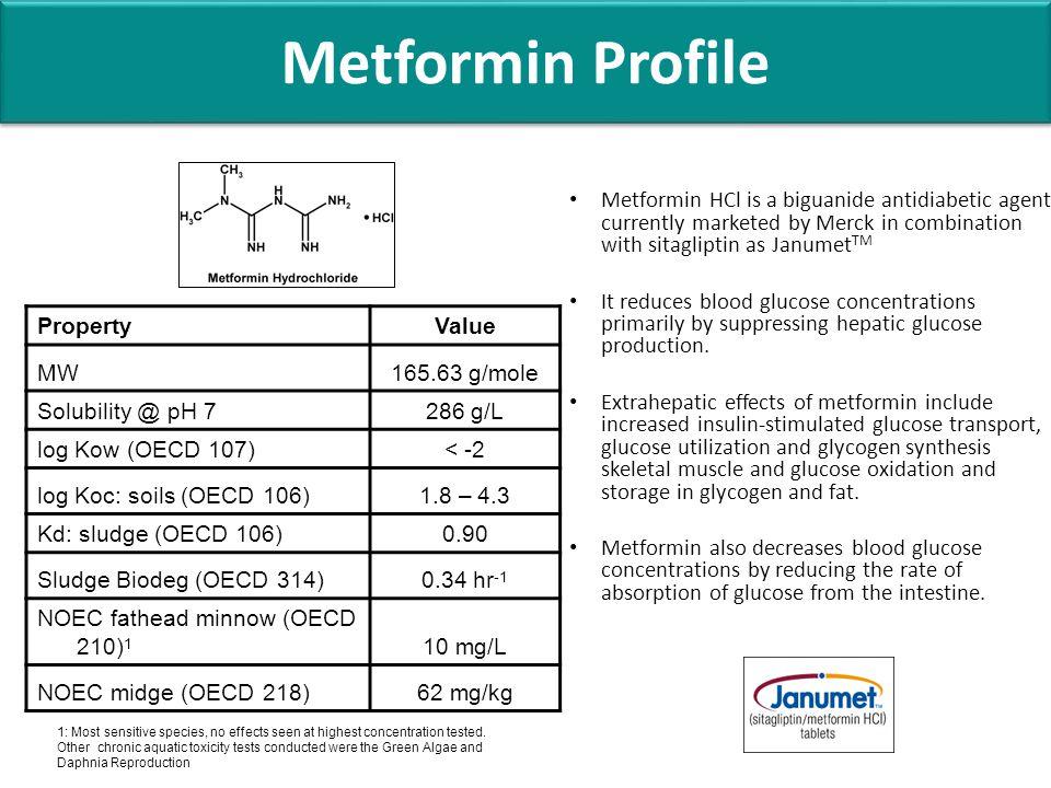 Metformin Profile PropertyValue MW165.63 g/mole Solubility @ pH 7286 g/L log Kow (OECD 107)< -2 log Koc: soils (OECD 106)1.8 – 4.3 Kd: sludge (OECD 10